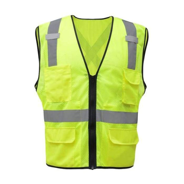 Gss Premium Class 2 Utility Safety Vest W/ X Back - Lime / Medium - Highway Safety