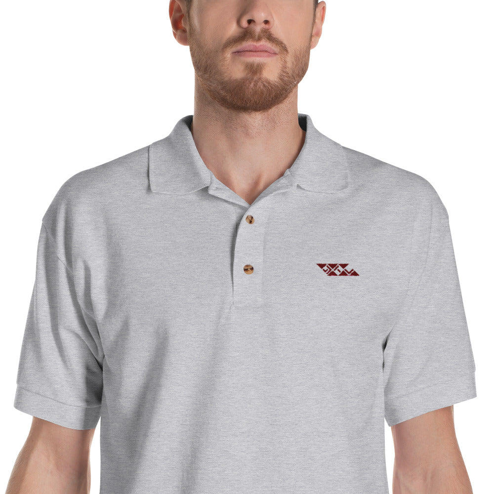 Sports Grey Embroidered Polo Shirt