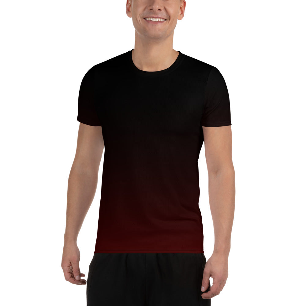 Black Red Men's Athletic T-shirt