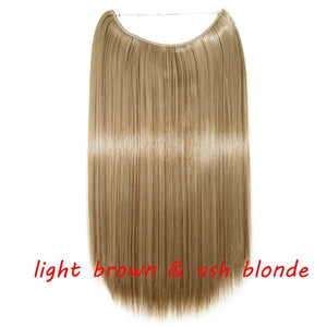 20inch Invisible Wire No Clip One Piece Halo Secret Fish Line Straight Synthetic Hair Extensions
