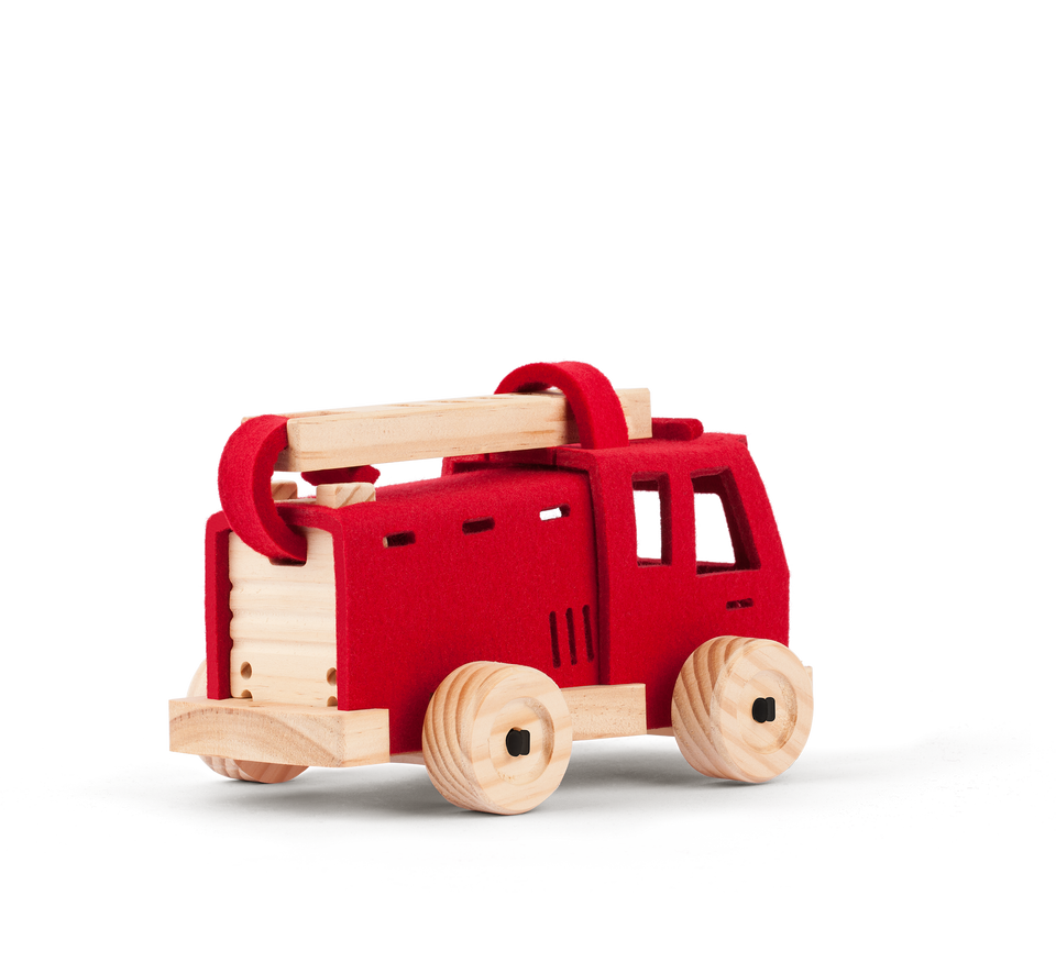 Toy Fire engine. Wool and wood