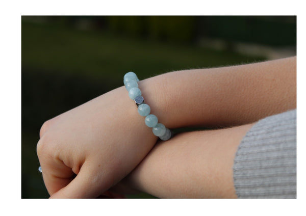Aquamarine Bracelet 8mm wrist woman - www.purestone.be
