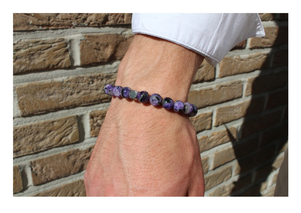 Charoite Dark Bracelet 8mm Wrist Man - www.purestone.be