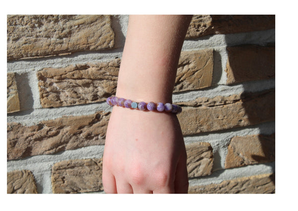 Charoite Light Bracelet 8mm Wrist Woman - www.purestone.be