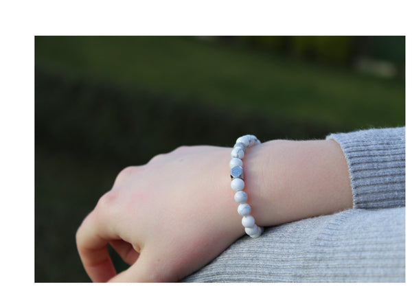 Howlite Bracelet 6mm wrist woman - www.purestone.be