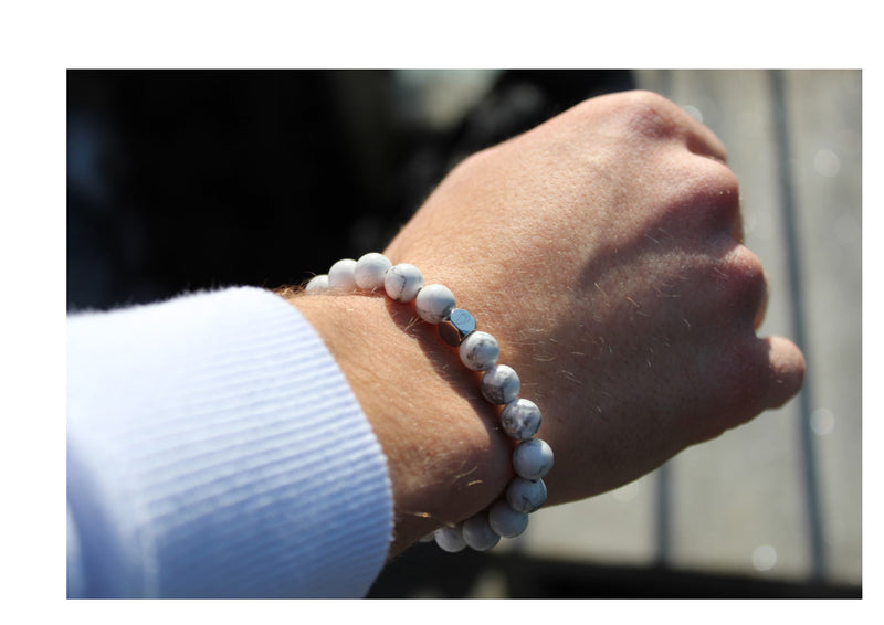 Howlite Bracelet 8mm wrist man - www.purestone.be