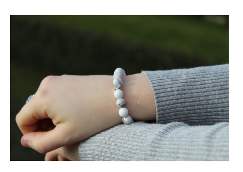 Howlite Bracelet 8mm wrist woman - www.purestone.be