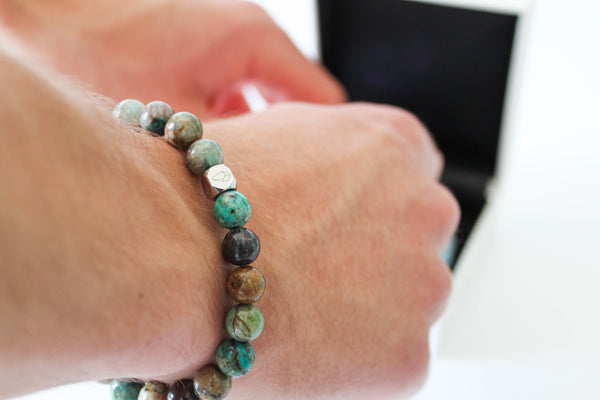 Chrysocolla Bracelet 8mm Wrist Man - www.purestone.be