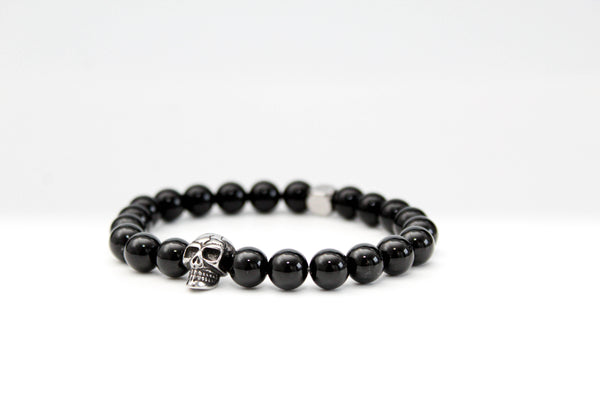 Onyx Skull Bracelet 8mm - www.purestone.be