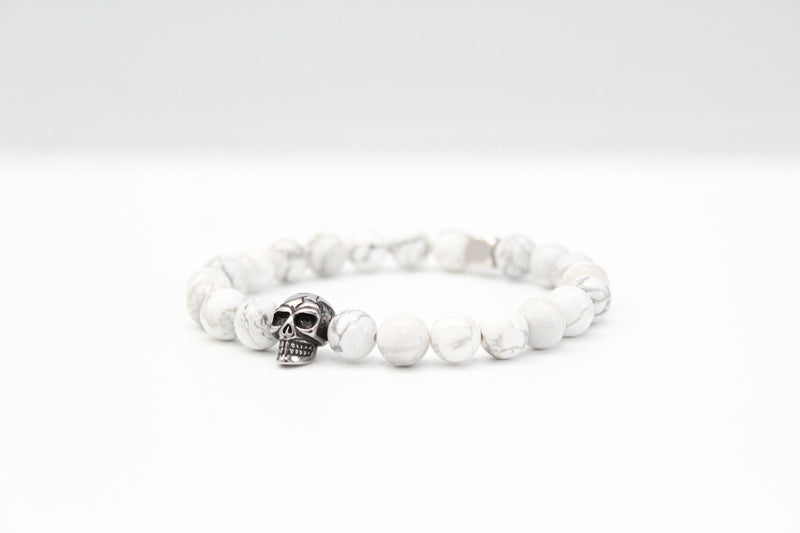 Howlite Skull Bracelet 8mm - www.purestone.be