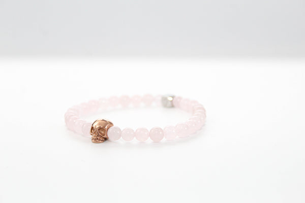 Rose Quartz Skull Bracelet 6mm - www.purestone.be