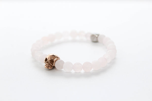 Rose Quartz Matte Skull Bracelet 6mm - www.purestone.be