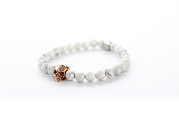 Howlite Skull Bracelet 6mm - www.purestone.be