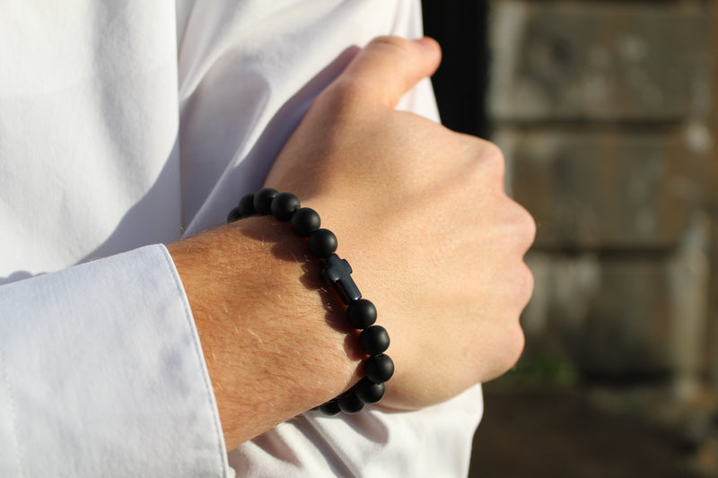 Onyx Matte Black Cross Bracelet 8mm Model 1- www.purestone.be