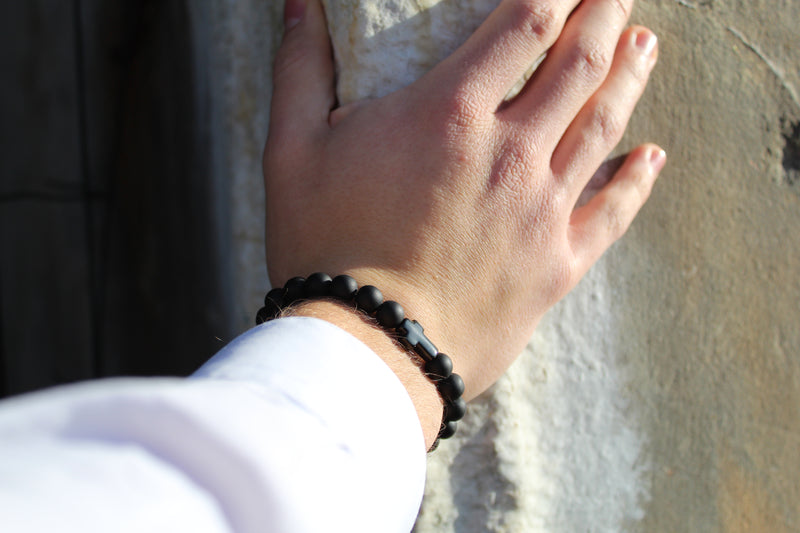 Onyx Matte Black Cross Bracelet 8mm Model 2- www.purestone.be