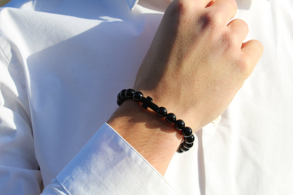 Onyx Black Cross Bracelet 8mm Model 1 - www.purestone.be