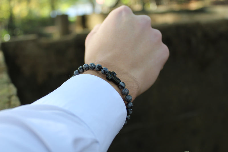 Snowflake Obsidian Black Cross Bracelet 6mm Model 3 - www.purestone.be