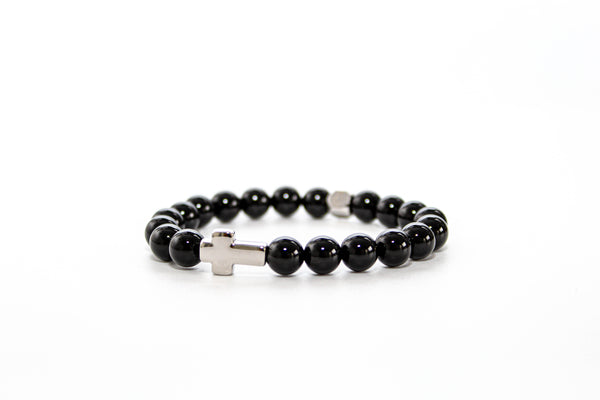 Onyx Silver Cross Bracelet 8mm - www.purestone.be