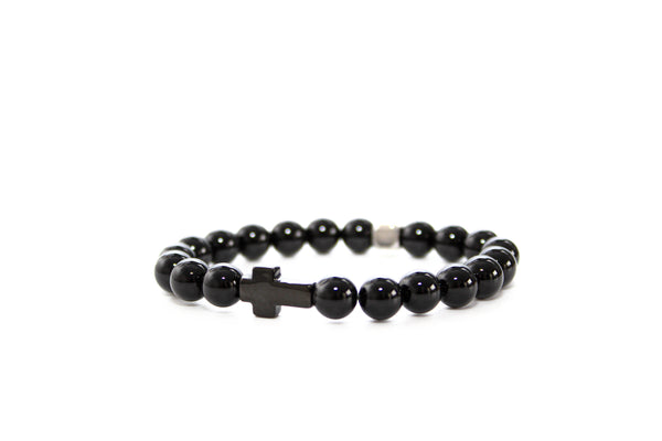Onyx Black Cross Bracelet 8mm - www.purestone.be