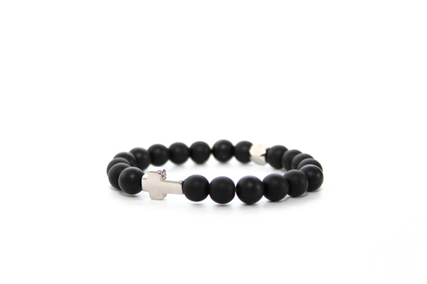 Onyx Matte Silver Cross Bracelet 8mm - www.purestone.be