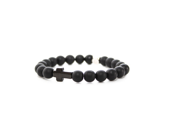 Onyx Matte Black Cross Bracelet 8mm - www.purestone.be