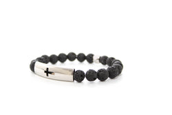 Lavastone Black Tube Cross Bracelet 8mm - www.purestone.be