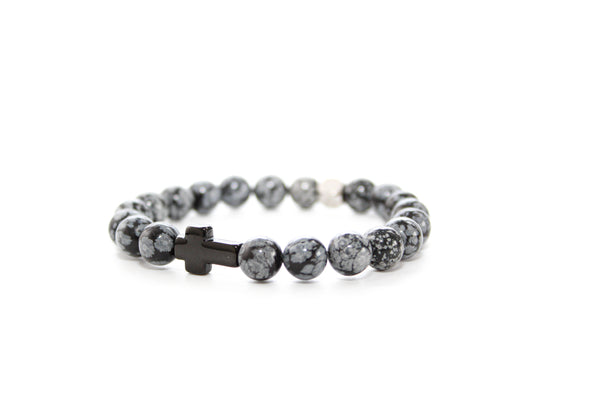 Snowflake Obsidian Black Cross Bracelet 8mm - www.purestone.be