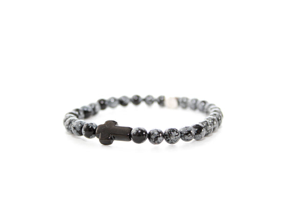 Snowflake Obsidian Black Cross Bracelet 6mm - www.purestone.be