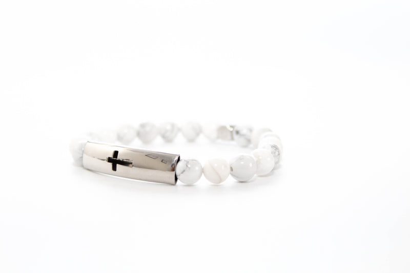 Howlite Tube Cross Bracelet 8mm - www.purestone.be