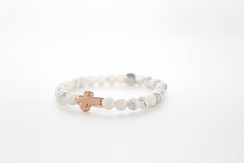Howlite Rose Gold Cross Bracelet 6mm - www.purestone.be