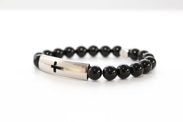 Onyx Tube Cross Bracelet 8mm - www.purestone.be