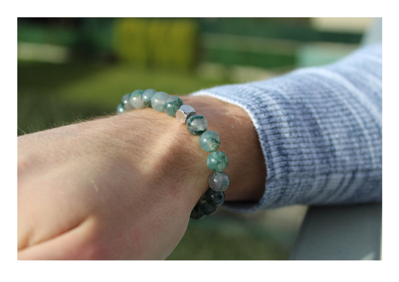 Moss Agate Bracelet 8mm wrist man - www.purestone.be