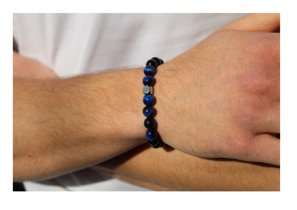 Tiger's Eye Blue Bracelet 8mm wrist man- www.purestone.be