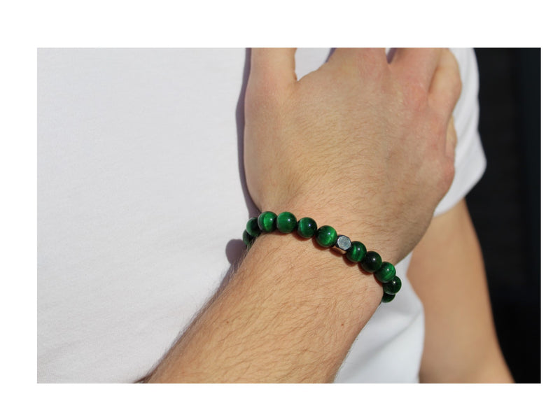 Tiger's Eye Green Bracelet 8mm wrist man- www.purestone.be