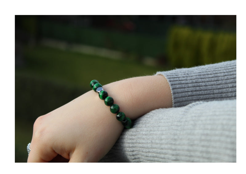Tiger's Eye Green Bracelet 8mm wrist woman - www.purestone.be