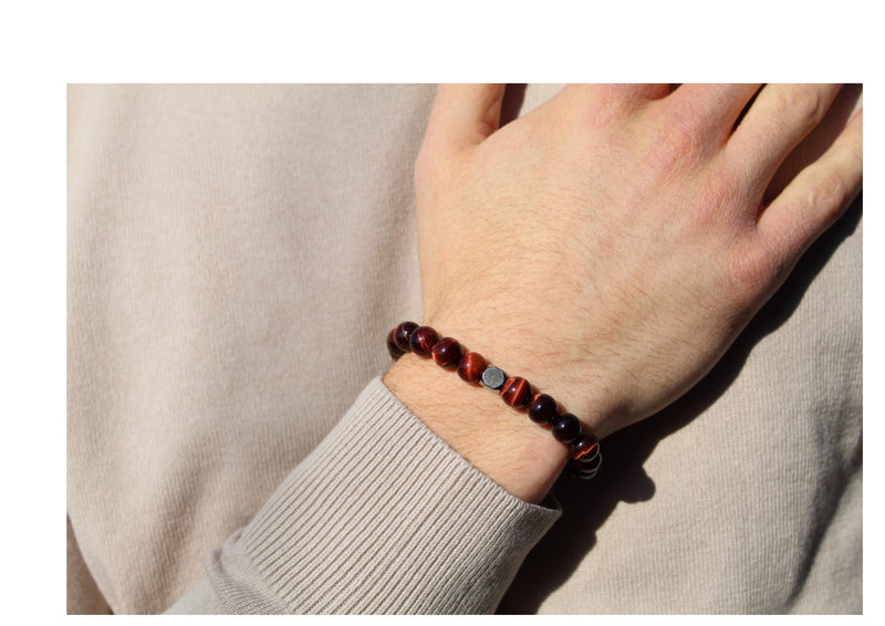 Tiger's Eye Red Bracelet 8mm wrist man- www.purestone.be