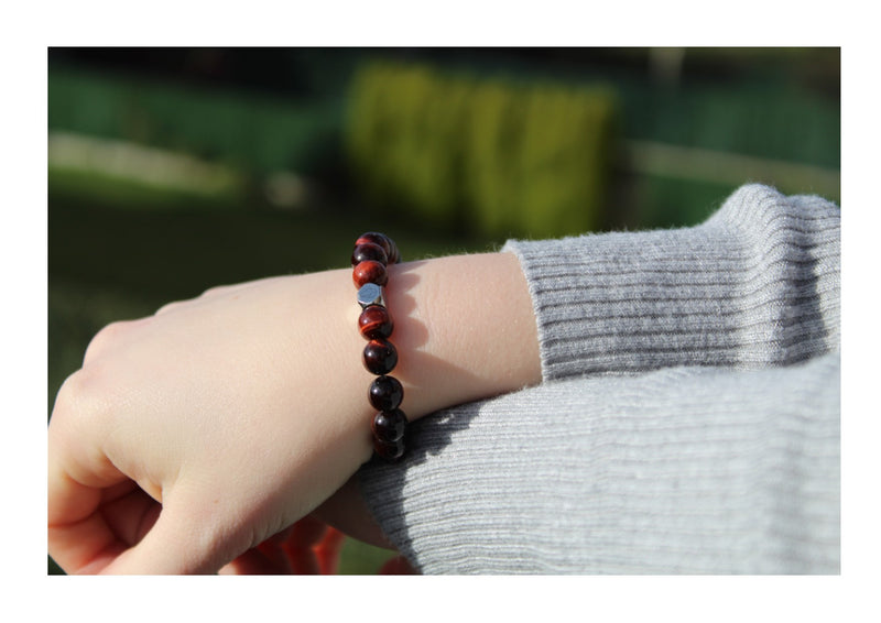 Tiger's Eye Red Bracelet 8mm wrist woman- www.purestone.be