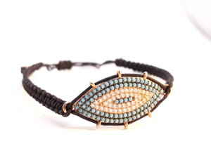 "Evil Eye Bracelet ""Mati macrame, silver 925 rosegold-plated with Turquoise, zircons semi-precious stones Symbols Collection"