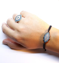 "Load image into Gallery viewer, Evil Eye Bracelet ""Mati macrame, silver 925 rosegold-plated with Turquoise, zircons semi-precious stones Symbols Collection"