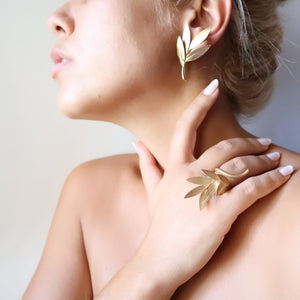 Olive Leaf Ring 18K gold-plated ''Physis""