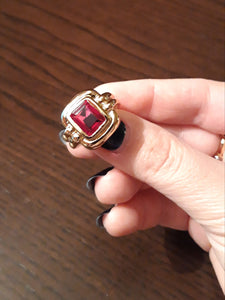 Faceted Ruby Ring Gold-plated 18K Brass