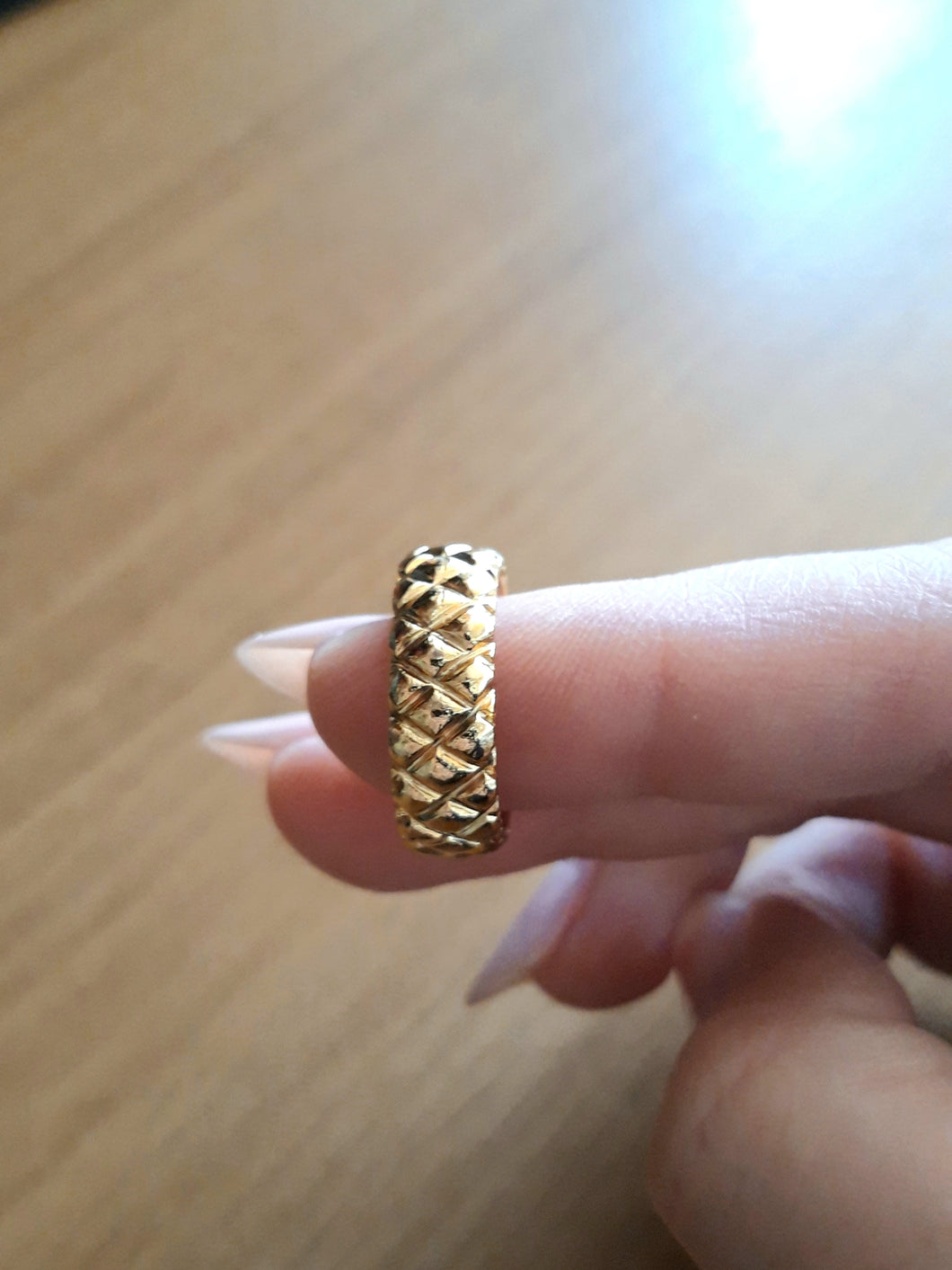 Gold Carved Band - Brass gold-plated Stacking Ring -Symbols Collection