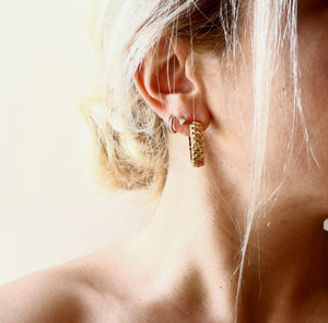 Carved Quilt Hoops Earrings - Brass gold-plated 18K Medium size Hoops -Symbols Collection