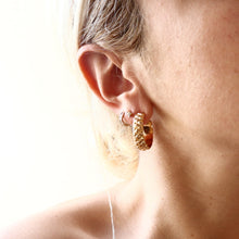 Load image into Gallery viewer, Carved Quilt Hoops Earrings - Brass gold-plated 18K Medium size Hoops -Symbols Collection