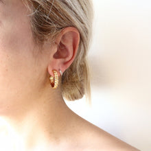 Load image into Gallery viewer, Swirl Hoops Earrings - Brass gold-plated 18K Medium size Hoops -Symbols Collection