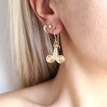 Load image into Gallery viewer, Dangling II Ancient Greek Earrings - Byzantine style Brass gold-plated 18K -Symbols Collection