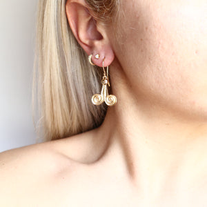 Dangling II Ancient Greek Earrings - Byzantine style Brass gold-plated 18K -Symbols Collection