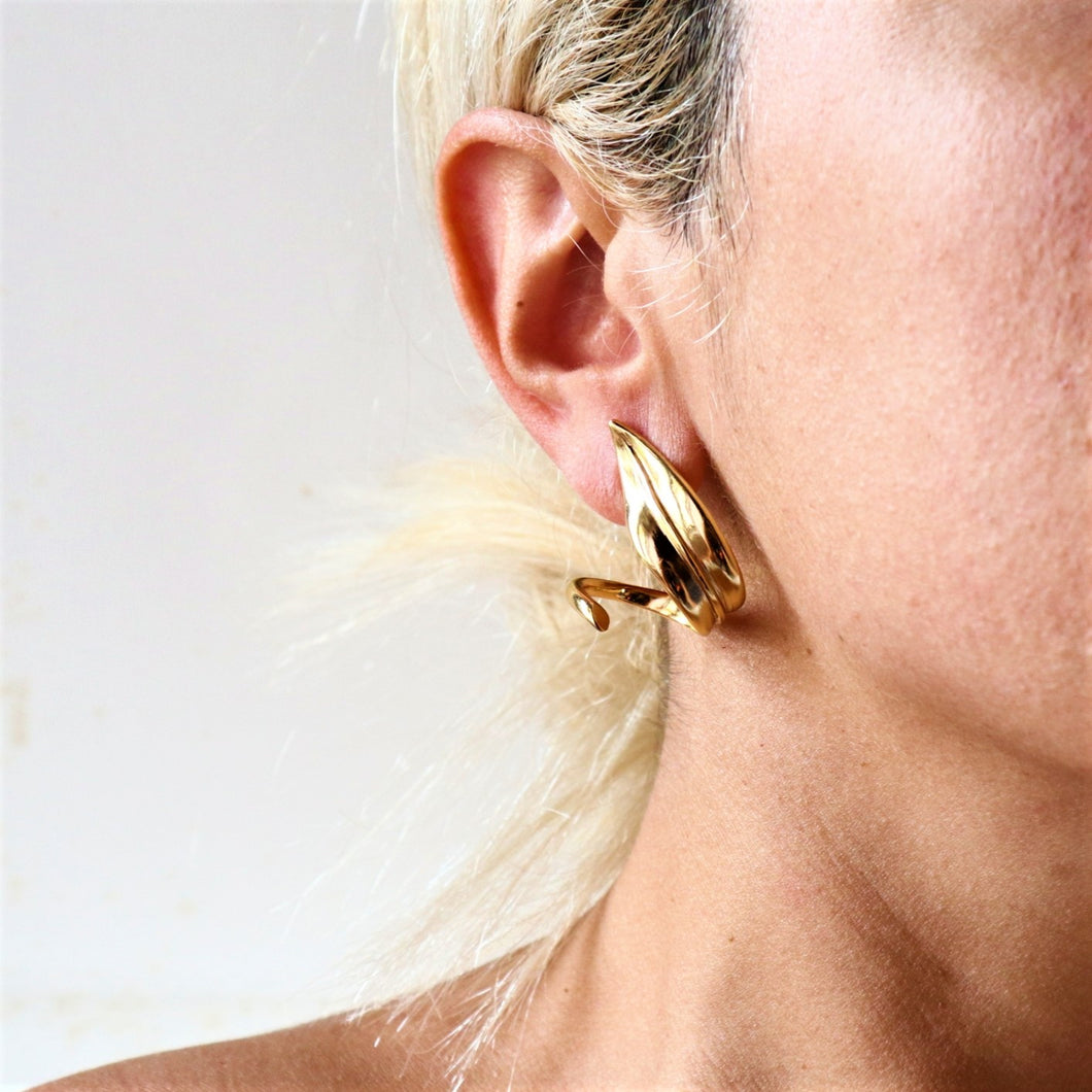 Olive Leaves Hoop Earrings
