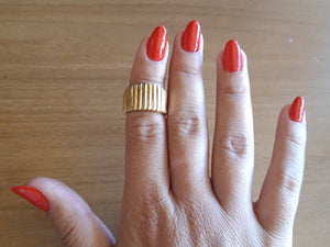 "Shiny Striped Ring, Ancient-greek inspired Bold Ring ""Symbols"" Collection"