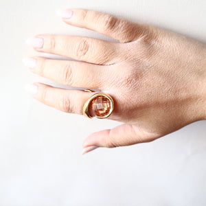 Large Natural Citrine Ring